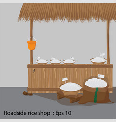 roadside rice shop vector image vector image
