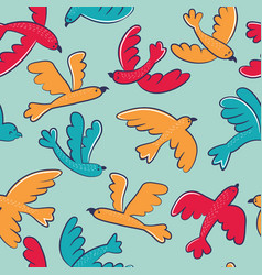 seamless pattern with cute cartoon birds flying vector image vector image