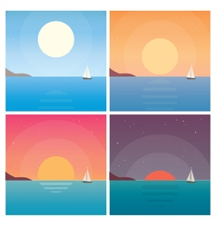 set landscape sunset vector image vector image