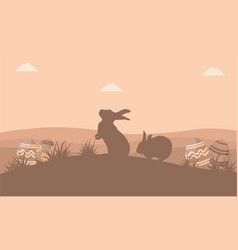 silhouette of easter egg and rabbit flat vector image vector image