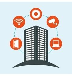 Smart city building app icon set vector