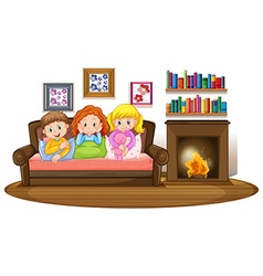 Three kids on sofa by the fireplace vector