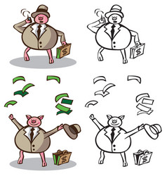 wealthy businessman pig vector image