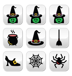 Witch halloween buttons set vector