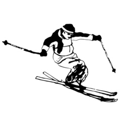 Silhouette man jumps on ski black and white grunge vector