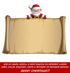 Happy santa scroll empty label open hands vector
