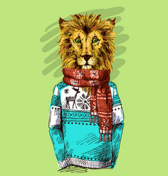 lion in knitted sweater vector image