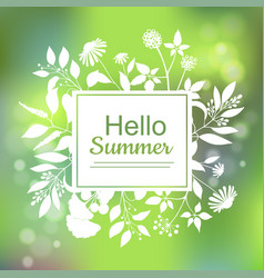 hello summer green card design vector image