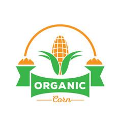 organic corn logo with rock mountain vector image