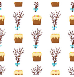 Seamless pattern in easter concept willow and cake vector