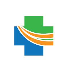 health cross with arrow logo image vector image