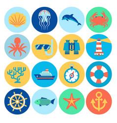 Flat marine icons vector