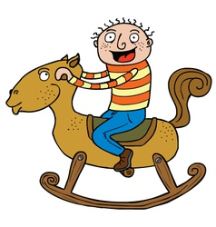 Kid and rocking horse vector