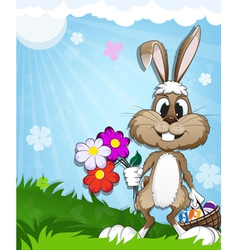 Happy bunny in the meadow vector
