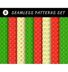 Christmas seamless patterns set Geometric vector image