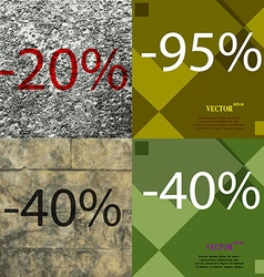 95 40 icon set of percent discount on abstract vector