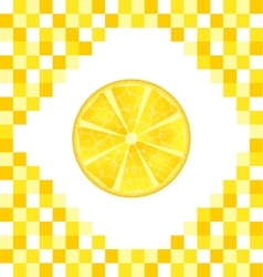 Sliced lemon on yellow tiled background vector