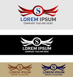 Secure shield wing logo vector