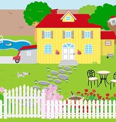 house and garden vector image