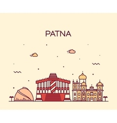 Patna skyline silhouette linear style vector