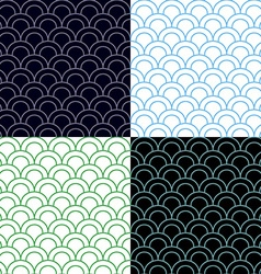Green and blue scales seamless pattern set vector