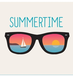 Summertime landscape sunset sunglasses vector