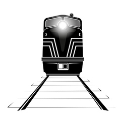 Silhouette of a diesel locomotive moving along the vector