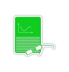 Paper sticker on white background economic report vector