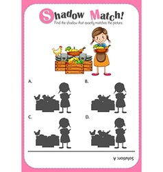 Game template with shadow matching farm products vector