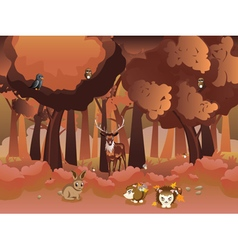 Cartoon autumn forest with animals4 vector