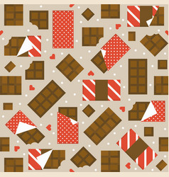 chocolate bar and heart seamless pattern vector image vector image