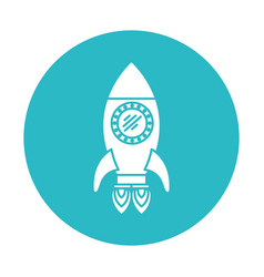 Circle light blue with space rocket with two vector