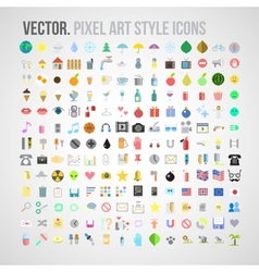 color pixel art style icons set vector image vector image