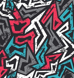 Colored graffiti seamless pattern with grunge vector