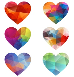colorful hearts with geometric pattern vector image vector image