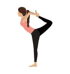 Colorful yoga woman lord of the dance pose three vector