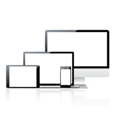 Computer monitor smartphone laptop and tablet pc vector