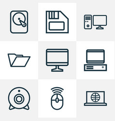 Computer outline icons set collection of floppy vector