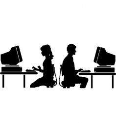 Computer worker vector