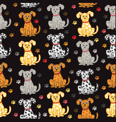 cute dogs seamless pattern funny doodle vector image vector image