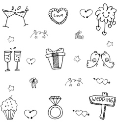 Cute wedding party doodle vector