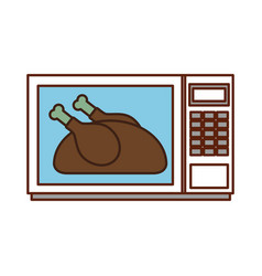 delicious chicken in microwave thanksgiving food vector image