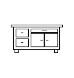 desk furniture office work image line vector image