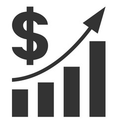 Dollar bar chart trend flat icon vector