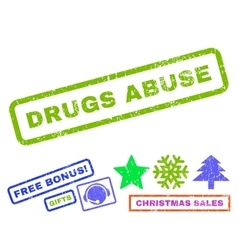 Drugs abuse rubber stamp vector
