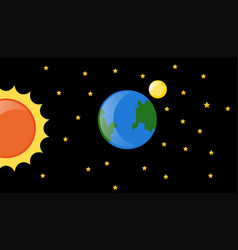 Earth and sun in the galaxy vector