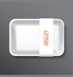 Empty wrapped food tray vector