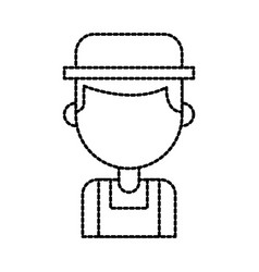 Farmer in coveralls and hat character design vector