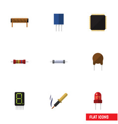 Flat icon technology set of resistor cpu bobbin vector