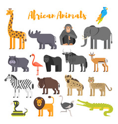 flat style set of african animals vector image vector image